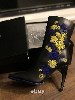 Versace Floral Embroidered Half Boots Sz40 US10