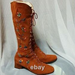 Vintage 60s 70s Gogo Boots Embroidered Floral Penny Lane Almost Famous Lace Up
