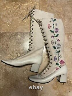 Vintage 60s Gogo Boots 70s Boots Penny Lane Boots Floral Embroidered Boots Hippy