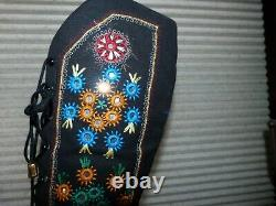 Vtg 8B Jerry Edouard Black Embroidered Multi Floral Go Go Boots Penny Lane Boho