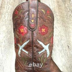 Vtg Dan Post Women's Blue Bird Western Cowboy Boots Brown Floral Leather 6.5 M