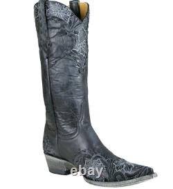WOMEN'S OLD GRINGO, ERIN / BLACK LEATHER BOOTS, With FLORAL STITCH, SIZE 7 B, NIB