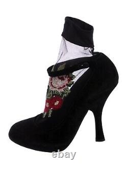 Women Dolce & Gabbana Floral-Embroidered Ankle Boots Size US 8(38)
