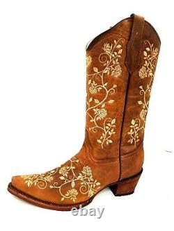 Women's Circle G By Corral Western Boot L5443 Brown & Tan Embroidery