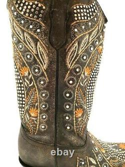 Women's Corral Brown Flowered Embroidery & Crystal Studs Boots E1518