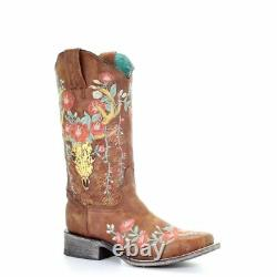Women's Corral Tan Deer Skull Overlay & Floral Embroidery Sq Toe Boot A3708