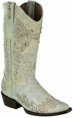 Women's Distressed Off-White Embroidered Western Leather Cowboy Cowgirl Boots