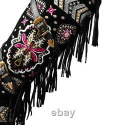 Women's Embroidered Flower Side Zipper Ethnic Suede Knee High Boots Casual Shoes
