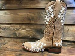 Women's Genuine Leather Cowboy Western Square Toe Boot Flower Embroidery