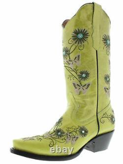 Women's Green Leather Cowgirl Boots Floral Butterfly Embroidered Pointed Toe