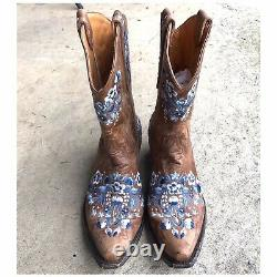 Women's Old Gringo Distressed Leather Embroidered Floral Cowboy Boot 8 1/2 B