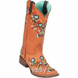 Women's Quincy Genuine Leather Square Toe Cowgirl Boots Floral Shaft And Vamp