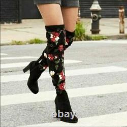 Women's Sam Edelman Embroidered Over The Knee Vena Boots, Black, Size 7.5, Nib