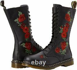 Women's Shoes Dr. Martens 1914 VONDA 14 Eye Floral Leather Boots 12761001 BLACK