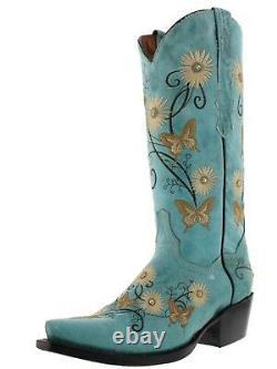Women's Turquoise Leather Cowgirl Boots Floral Butterfly Embroidered Pointed Toe