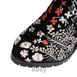 Women's Vintage High Block Heel Knee High Boot Zipper Suede Floral Knight Boots