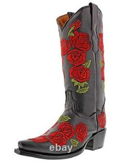 Womens Black Rose Flower Embroidered Roses Western Leather Cowgirl Boots Snip
