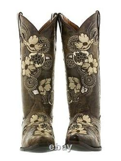 Womens Brown Floral Embroidered Western Cowgirl Boots Snake Leather Snip Toe