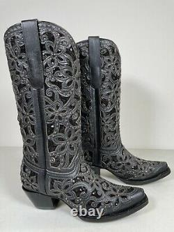 Womens Corral Boots Black Overlay Studs Studded Embroidery Handmade 8 A3752