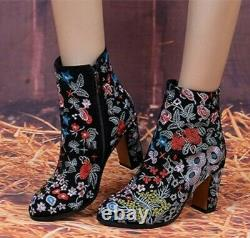 Womens Embroidered Block Heel Floral Ankle Boots Ethnic Pattern Shoes Casual New
