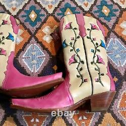 Womens NEW Vintage MEX RUDEL Pink Cream Floral Vine Pointy Cowgirl Boots Sz 7.5