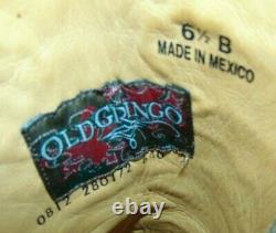 Womens Old Gringo Brown Leather Floral Embroidered Cowboy Boots 6.5 M Exc Cond