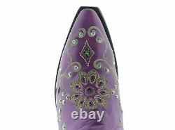 Womens Purple Snake Western Leather Cowgirl Boots Floral Rhinestone Snip Toe