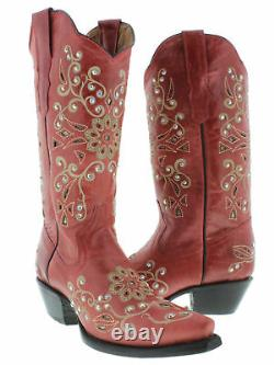 Womens Red Snake Western Leather Cowgirl Boots Floral Rhinestone Snip Toe