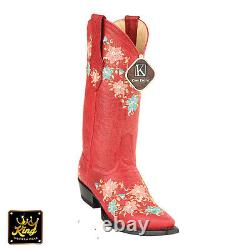 Womens Snip Toe Embroidered Red