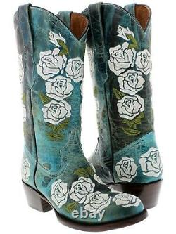 Womens Turquoise Distressed Leather Cowgirl Boots Floral Rose Embroidered Round