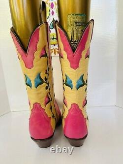 Womens Vintage MEX RUDEL Pink Cream Floral Vine Pointy Cowgirl Boots Sz 8