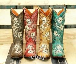 Womens Western Cowgirl Boots Floral Embroidery Snake Print Inlay Snip Toe Botas