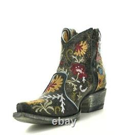 Ybl3356-3 Old Gringo Yippee Free My Soul Black Leather Blue Embroidered Boots