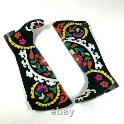 ZEYZANI Knee High Boots Suede Leather Black Embroidered Boho Hippie Bohemian