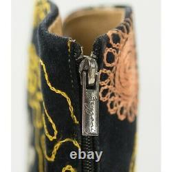 Zeyzani Embroidered Snip Toe Peach Turquoise Velvet Black Western Boots Sz 38 8
