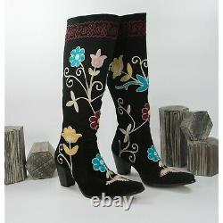 Zeyzani Embroidered Tall Pink Turquoise Floral Black Suede Heeled Boots Sz 39 9