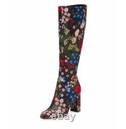 $1,975 Valentino Garavani Floral Jacguard Knee Boots Black Size 9b / 39 Eu