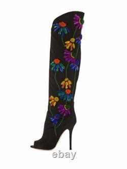 $2,295 Nouveau Giuseppe Zanotti Floral-brodé Peep-toe Satin Knee High Boots 6
