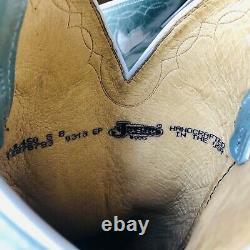 $400 Vtg Justin Boots Turquoise Blue Floral Cowboy Femmes 8 B Western Cowgirl