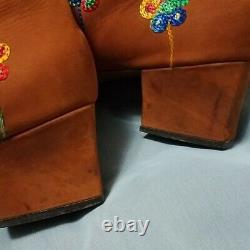 60s 70s Vintage Gogo Bottes Brodé Floral Penny Lane Almost Famous Lace Up