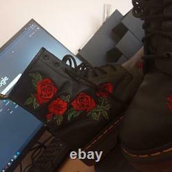 Airwair Dr Martens Rose Noir Et Rouge 1460 Bottes Vonda