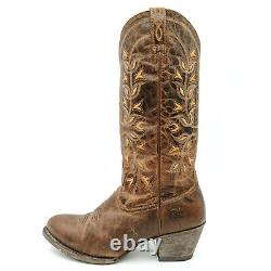 Ariat Desert Holly Brown Leather Tall Floral Western Cowboy Boots Femmes 10 B