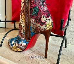 Authentique Nwt Christian Louboutin Bottes Taille 8 / 38- Est Livré Avec CL Sac À Chaussures Rouge