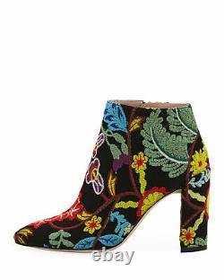 Authentique Stuart Weitzman Floral Brodé 90mm Booties 35.5 5.5 Nwb