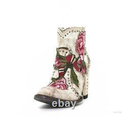 Bl3184-3 Boots À Chevilles Florales À Lait Craqué De La Vieille Gringo Carla