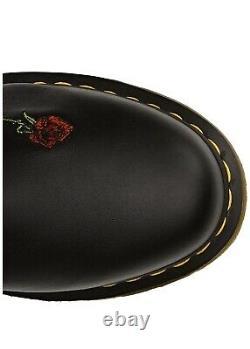 Bnwb Dr. Doc Martens 11 Ronda Roses Rouges En Cuir Doux Noir 14 Eye