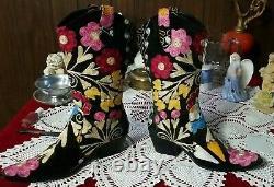 Boho Brodé Daim Noir Pointu Bottes Cowgirl Istanboots Turkey Vintage