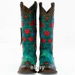 Bottes Cowboy Pour Femmes Taille 8.5 Bm, Turquoise, Snip Toe, Robin Birds, Floral