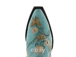 Bottes Cowgirl En Cuir Turquoise Femmes Papillon Floral Brodé Orteil Pointu