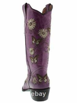 Bottes Cowgirl En Cuir Violet Femme Papillon Floral Brodé Orteil Pointu